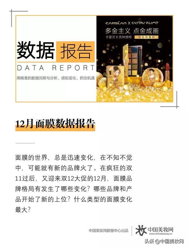 12月面膜数据报告,谁的涨幅超1600%?